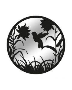 Black Metal Hummingbird in Flight Silhouette Mirror
