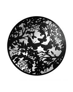 Large Black Metal Round Butterfly Silhouette Mirror