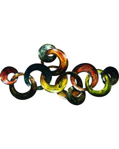 Interconnected Coloured Circles- Metal Wall Decor