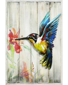 Metal Hummingbird on Wooden Frame