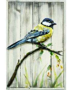 Great Tit on Wooden Frame - Metal Wall Art