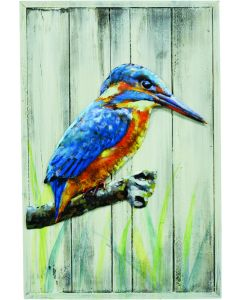 Kingfisher on a Wooden Frame - Metal Wall Art