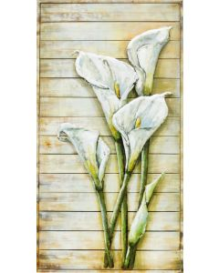 Calla Lilies on Wooden Frame - Metal Wall Art