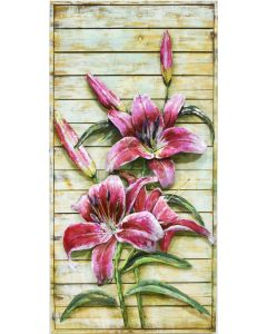 Tiger Lilies on a Wooden Frame - Metal Wall Art