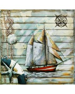 Sailing Ship on Wooden Frame   Metal Wall Art