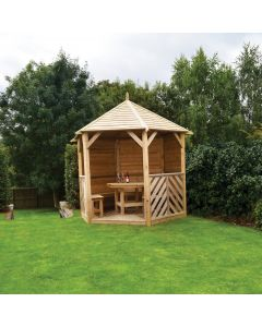 Kelkay Willoughby Wooden Closed Side Gazebo With Furniture