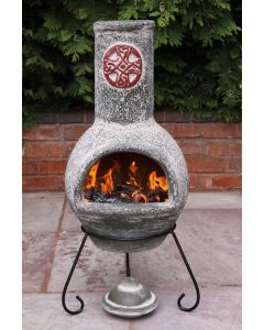 Cruz Large Mexican Chimenea in Green with Red Motive