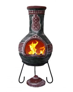Azteca XL Mexican Chimenea in Green and Red