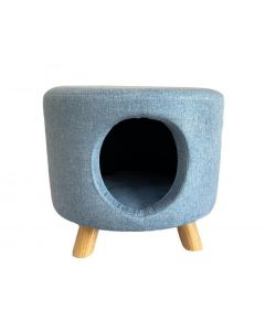 Round Pale Blue Cat House Footstool Including Cushion