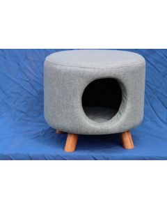 Round Pale Green Cat House Footstool Including Cushion