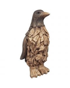 Wood Effect Penguin (Made From Frost Proof Polyresin)