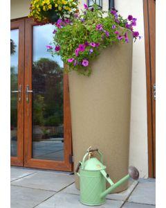 380 Litre Garden Planter Water Butt Sandstone with Tap Kit & Diverter