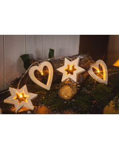 Wooden stars and Hearts lightchain with 10LEDs