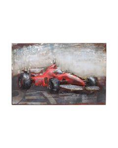 Red Racing Car - Metal Wall Art