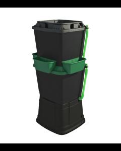 134L Rainwater Terrace Water Butt Planter - 2 Tier - Black & Dark Green