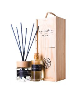 Vanilla Blanc Fresh Linen & Bois Precieux (Precious Wood) Natural Reed Diffuser with refill in Gift Box