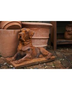 Cast Iron Watchful Dog Statue in Rust