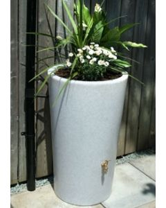 180L Garden Planter Water Butt White Marble