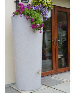 380 Litre Garden Planter Water Butt White Marble with Tap Kit & Diverter