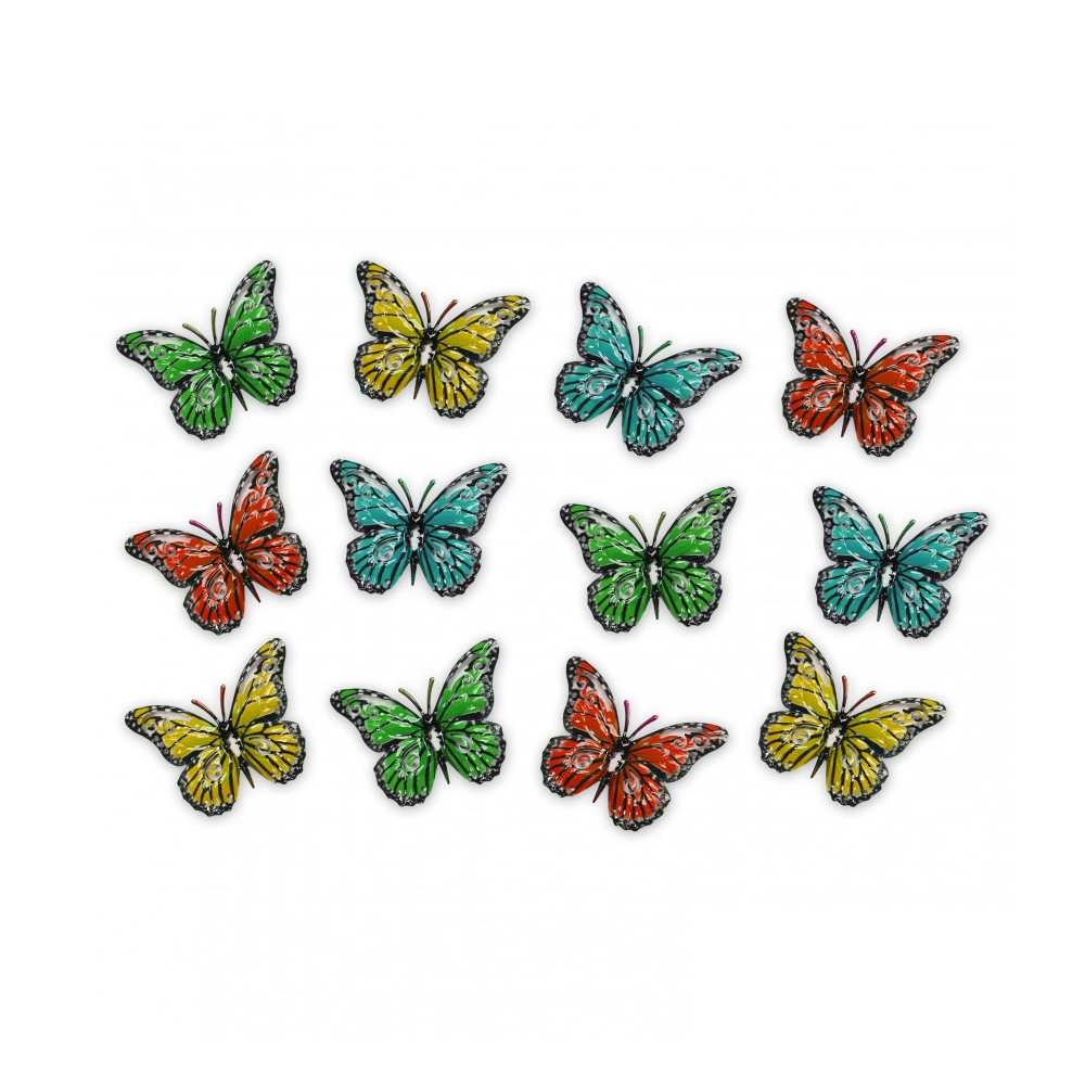 Home & Garden Pack of 12 Multicoloured Metal Butterfly Outdoor Garden Home Decoration Wall Art by Primus (AMAZON)