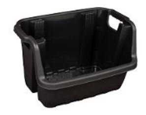 This black Heavy Duty Stackable Crate from Strata, has asymmetric edges for easy access to it's contents, and is fitted with built in handles. It's pe