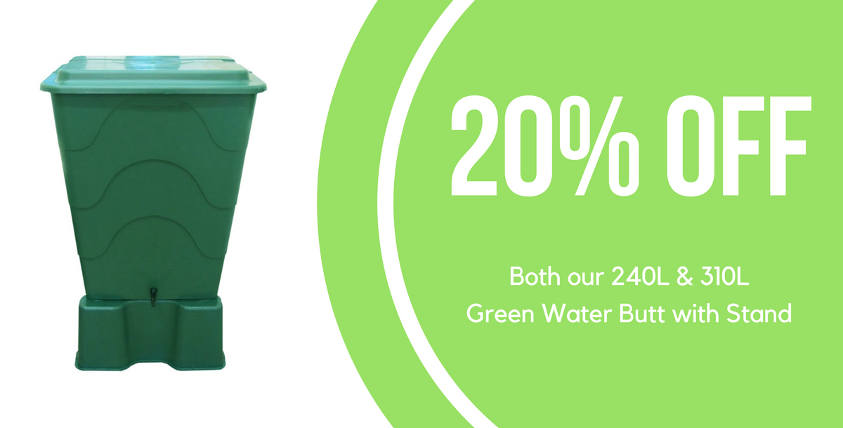 20% Off 240L & 310L Green Water Butt with Stand