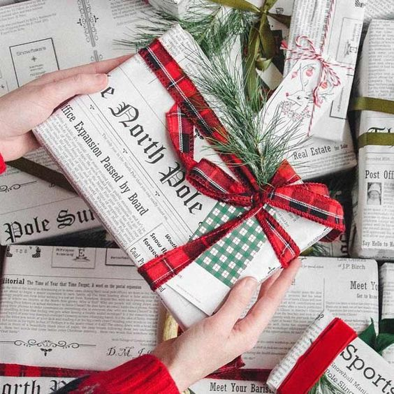 image of newspaper gift wrap