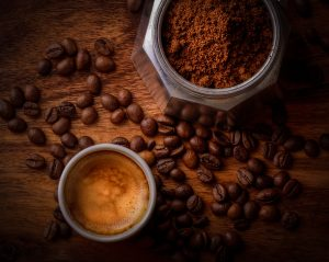 image of coffee grounds and beans